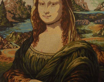 "Large Size Antique Tapestry Canvas ""Mona Lisa"" 60 x 50 Collection D'Art"