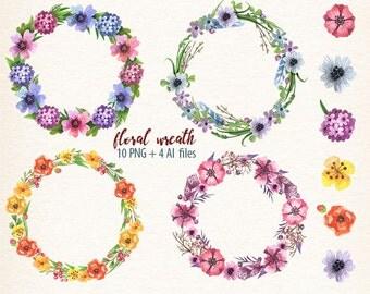 watercolor wreath, floral wreath, vector flowers, watercolor flowers, wedding wreath