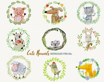 Watercolor Animals wreath animals sweet animals Watercolor Clipart Cute Animals Watercolour Animals Clip Art Hand-painted Animals