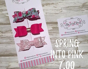 Spring into pink hair bows