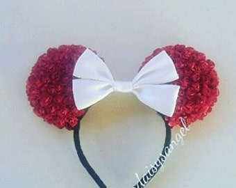 Red Floral Minnie Ears