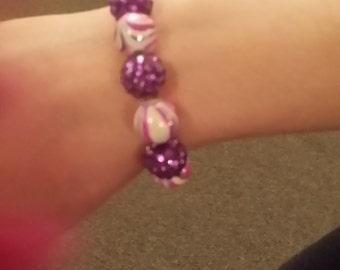 Pink purple and green swirl bracelet
