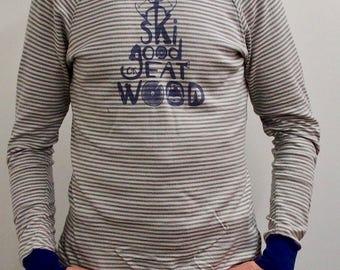 """""""Good ski"""" striped tshirt"""