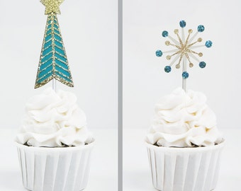Mod Holiday Cupcake Toppers