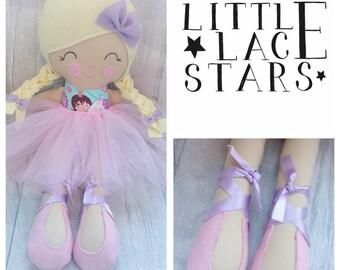 Ballerina doll, handmade doll, rag doll, soft body doll, soft doll, large doll, blonde doll, nursery decor, baby shower gift
