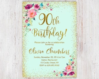 Floral Mint Women Birthday Invitation, 90th Birthday Invitation, Any Age Women Birthday Invitation, Boho Women Birthday Invite 104