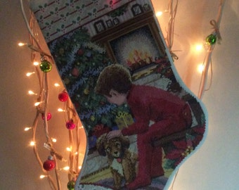 """Hand Stitched Christmas Stocking """"Waiting for Christmas"""""""