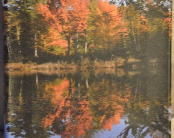 8x10 Autumn reflection photo canvas print