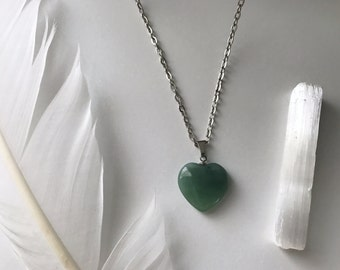 Pale Green Heart Stone Necklace