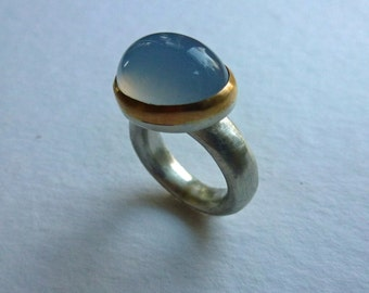 Silver ring with Gold version / oval chalcedony