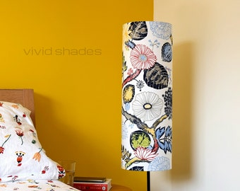 Tall lampshade with floor lamp base option, funky retro genuine Scandinavian fabric, handmade by vivid shades, floral flower scandi pattern