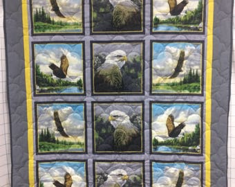 Flying Eagle Quilt Majestic Gray Yellow Size 55x43