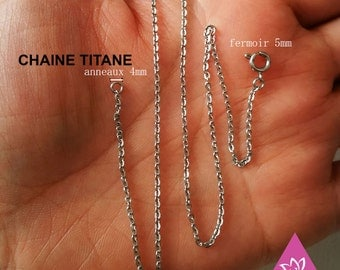 pure titanium chain necklace 1.50 mm flat O for sensitive skin, add your own pendant hypoallergenic