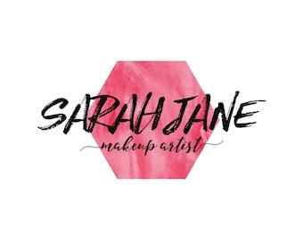 Pink Makeup Artist Logo / Pink Watercolor Logo Design / Hexagon Logo / Premade Logo Boutique / Makeup Artist Logo / Stylist Logo Design