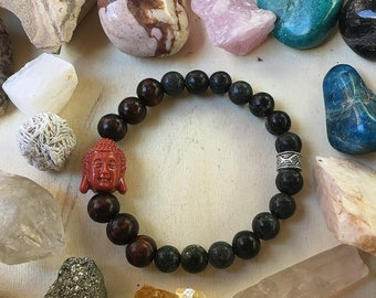 Russian Serpentine with wood and ceramic Buddha bracelet