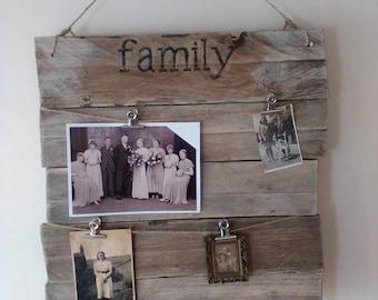 Rustic family  photo display