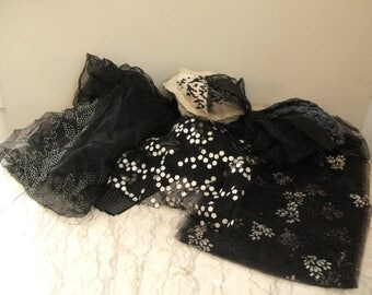 lot of French net fabric scraps