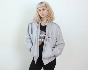 80s Members Only Jacket // Vintage Grey Windbreaker 1980s Mens Womens - Large