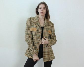 Vintage 70s Robert Lewis Idea Jacket // Mod Suede Trim Sport Coat Wool Tweed Blazer Womens - Large