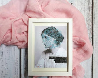 Print Virginia Woolf floral collage