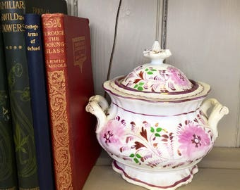 Victorian Lustre Sugar Bowl with Lid
