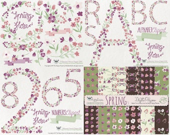 Flowers Clipart 80% OFF - Clipart and Digital Papers BUNDLE Spring Flora 3 Flowers Floral Vector Graphics PNG Purple