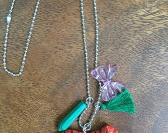 Orange Tiger with Green Tassle and Pink Bow