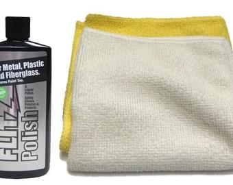 Flitz Metal, Plastic Fiberglass Liquid Polish 16 oz Bottle with 2-pack microfiber cleaning cloth towel combo