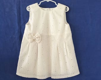 Elegant White Dress for Baby Girl, 3-4 Years Baby Girls' Dress, Girls' Clothing, Cotton Dress for Girls