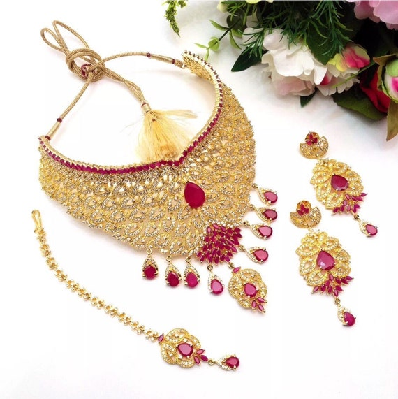 Indian Fashion Jewelry Bollywood Bridal Gold Plated Cz: Ruby And CZ American Dimonds Gold Plated Cubic Zirconia