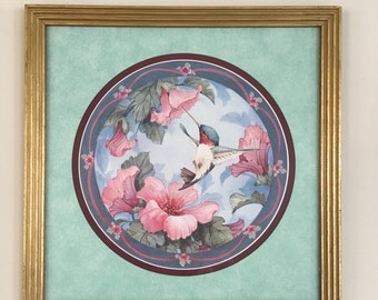Wonderful Vintage Signed Carolyn Shores Wright Hummingbird, Flowers, Watercolor Lithograpth Print, Matted, Framed