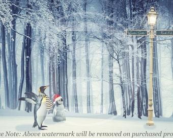 Penguin Christmas Digital Background