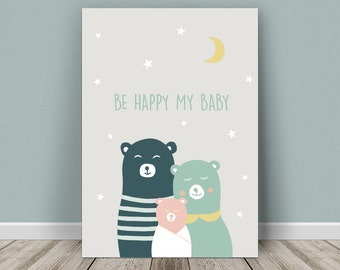 Personalised baby print bear's family for a girl