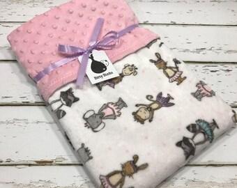 Elephant baby blanket baby girl blanket baby shower gift minky blanket girl baby shower double minky blanket Pink blanket Ballerina Blanket