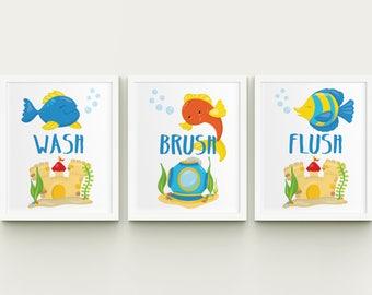 Set of 3 printable fish wash brush floss flush kids bathroom wall art, fish children's bathroom wash brush flush wall decor download