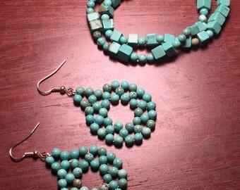 Turquoise drop earrings and bracelet set