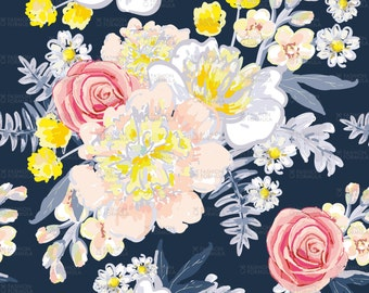 Bouquets of Light flowers on the Dark Background Fabric by OJardin