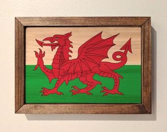 Welsh Flag Wooden Sign