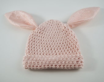 Blush Pink Bunny Beanie with pink honeycomb ears