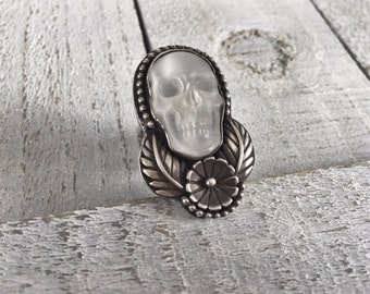 Moonstone Skull & Sterling Ring // Size 6.75 // RTS