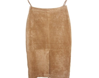 Vintage women skirt suede genuine leather brown