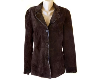 Anna Polare woman Hipster brown genuine leather jacket blazer size 46 crusted pork