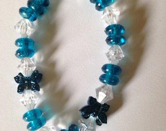 Blue and White Butterfly Beaded Bracelet.