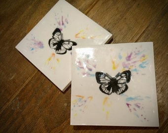 Butterfly ceramic coasters, set of 4, hand painted, birthday gift, Coaster set, Unique design, Weird and Wonderful
