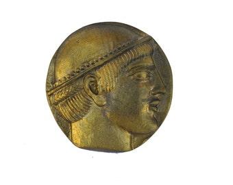 Hermes and aigis desk press papier bronze paperweight