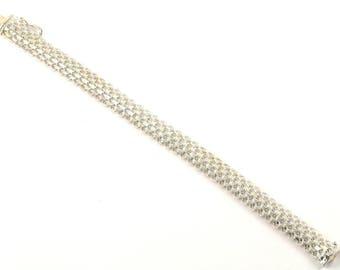 Vintage Mesh Chain Bracelet 925 Sterling Silver BR 637-E
