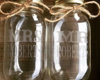 Glass etched custom mason jars for mr and mrs
