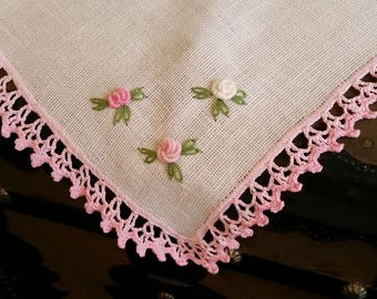 Small roses Doily coffee tea table runner linen table textile Hand made embroidery & lace !
