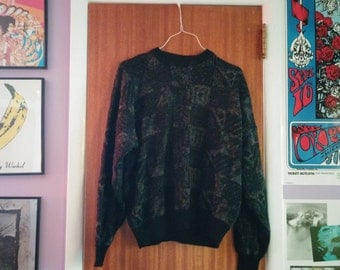 Vintage 80s Oversized Geometric Print Crewneck Sweater (one size fits most)