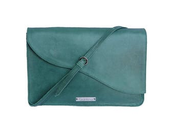 "Woman's dark green natural leather crossbody bag medium size ""Toskana"" with adjustable strap for everyday use"